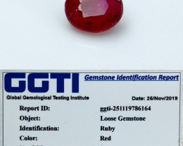 NR!!! GGTI-Certified- 1.00 Cts Red Ruby Gemstone