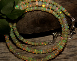 31 Crts Natural Ethiopian Welo Opal Beads Necklace 785