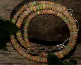 31 Crts Natural Ethiopian Welo Opal Beads Necklace 784