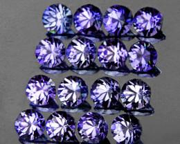 2.50 mm Round 16 pcs 1.21cts Purple Blue Sapphire [VVS}