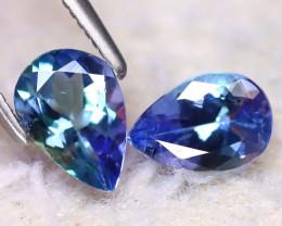 Tanzanite 1.52Ct 2Pcs Natural VVS Purplish Blue Tanzanite EF2921/D3