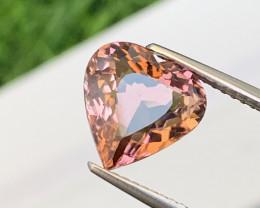 3.28 Cts Heart Shape Amazing Pinkish Orange Tourmaline VVS