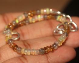16 Crts Natural Ethiopian Welo Opal, Labradorite, Citrine Bracelet 205