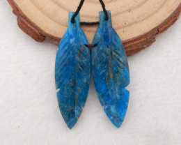 24cts Carved Feather Earrings,Natural Apatite Handcarved Feather Earrings H