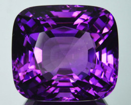 ~CUSTOM CUT~ 34.85Cts Natural AAA Purple Amethyst Cushion Bolivia