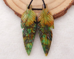 32cts Carved Feather Earrings,Natural Chrysocolla Handcarved Feather Earrin