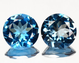 7.75 Carat Paired Super Swiss Blue Natural Topaz Gemstones
