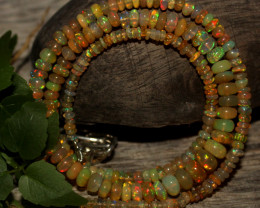 36 Crts Natural Ethiopian Welo Opal Beads Necklace 820