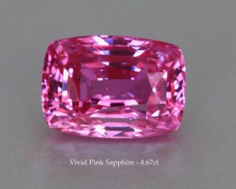 Vivid Pink Sapphire - Cushion 4.67ct - GRS Certified - Eye Clean Sparkling