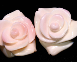 51 CTS CONCH SHELL ROSE CARVING HALF DRILLED  LT-343