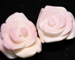45 CTS CONCH SHELL ROSE CARVING HALF DRILLED LT-348