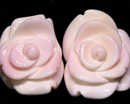 42 CTS CONCH SHELL ROSE CARVING HALF DRILLED LT-356