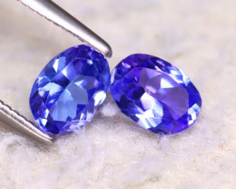 Tanzanite 1.07Ct 2Pcs Natural VVS Purplish Blue Tanzanite DF0116/D3