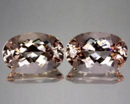 ~PAIR~ 33.42 Cts Natural Peach Pink Morganite 21x14mm Oval 2Pcs Brazil