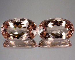 ~PAIR~ 29.06 Cts Natural Peach Pink Morganite 20x13mm Oval 2Pcs Brazil