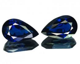 ~PAIR~ 3.92 Cts Natural Deep Blue Sapphire 2Pcs Pear (Drop) Madagascar