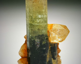 Amazing Natural bicolor  Damage free Tourmaline with lovely Quartz  14.25Ct