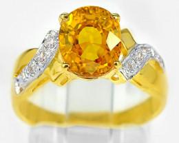Luxury Lady's Fancy Sapphire & Diamond 18K Ring