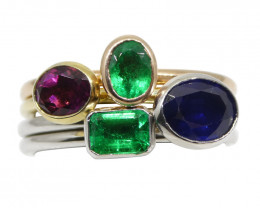 The Mindy, Four Ring Stacking Ring Set: Emerald, Sapphire, Tourmaline 10kt