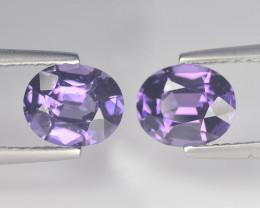 Cylon Spinel Matching Pair 2.19 Ct Purple Violet Italian Vintage Cut BGC559