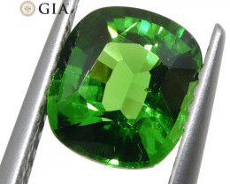 1.64ct Vivid Emerald Green Tsavorite Garnet Cushion, GIA Certified