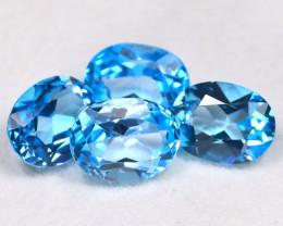 Swiss Blue Topaz 6.02Ct 4Pcs Pcs Oval Cut Natural Swiss Blue Topaz B2901
