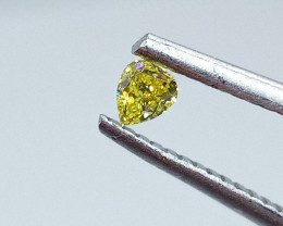 0.135ct  Fancy Vivid  Yellow Green  Diamond , 100% Natural Untreated