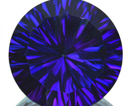 ~WONDER~ 12.14 Cts Tanzanite Color Natural Topaz 14mm Round Concave Brazil