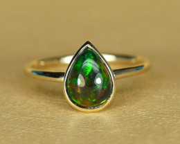 9mm 1.67CT HOT NEON COLOR BLACK OPAL 14 GOLD RING $1NR!