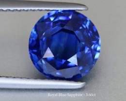 Sparkling Royal Blue Sapphire - 3.60ct - Round - Eye Clean Gem !