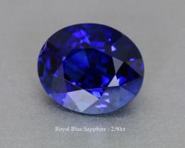 Royal Blue Sapphire - 2.90ct - Oval 9 x7 mm - Near Eye Clean Gem !