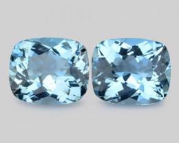 10.45 Cts 2 Pcs Un Heated  Santa Maria Blue  Natural Aquamarine Loose Gemst