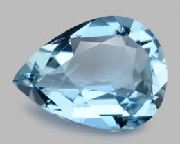 3.01 Cts Un Heated  Santa Maria Blue  Natural Aquamarine Loose Gemstone
