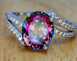 16Crt Natural Mytic Quartz 925 silver ring  8 Natural Gemstones JI03