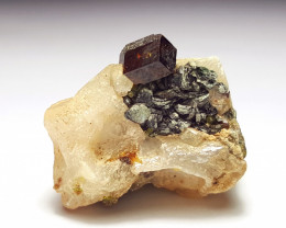 Amazing Natural color Damage free cute Garnet combine with Epidote and Calc