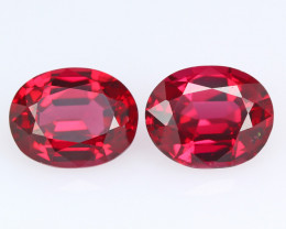 """Burmese red spinel, matching set  for """"EARRING"""", eye clean, rare, excellent"""