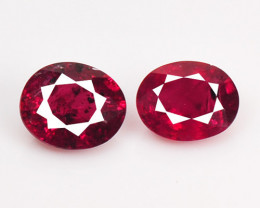 0.75 Cts 2pcs Pair Oval Shape Pinkish Red Natural Ruby Loose Gemston