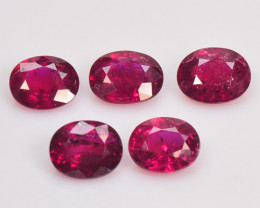 1.95 Cts 5pcs 5x4 mm Oval Pinkish Red Natural Ruby Loose Gemstone