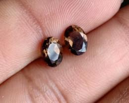 7x5 mm Smoky Quartz Gemstone Pair 100% Natural and Untreated Gems VA4685