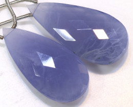 29 CTS CHALCEDONY DROPS PAIR FACETED DRILLED NP-1813