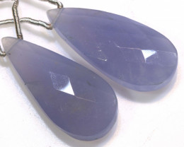 24 CTS CHALCEDONY DROPS PAIR FACETED DRILLED NP-1817