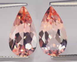 Fabulous Brazilian Morganite Match Pair 5.82 Cts Peach Pink BGC595