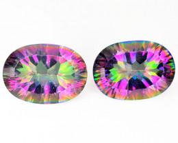 Quartz 10.99 Cts 2pcs  Rainbow Colors Natural Mystic Quartz