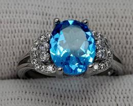 17CT BLUE TOPAZ 925 SILVER RING 6 BEST QUALITY GEMSTONE IIGC30
