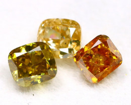 Fancy Diamond 0.89Ct 3Pcs Natural Untreated Fancy Color Diamond B0302