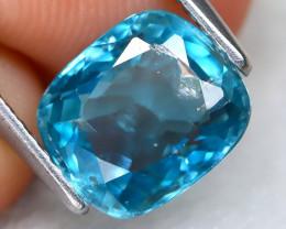 Blue Zircon 3.23Ct Oval Cut Natural Cambodian Blue Zircon C0309