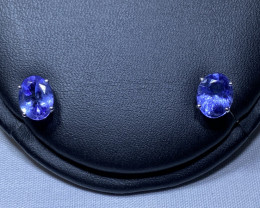 3.17 ct tw 14k White Gold  Tanzanite Pairs Studs  Earrings