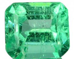 Natural Vivid Green Emerald Octagon Cut Colombia 0.34 Cts