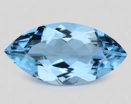 2.38 Cts Un Heated  Santa Maria Blue  Natural Aquamarine Loose Gemstone