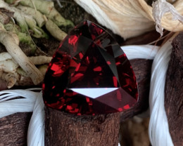 AIGS AAA 14.37 Cts Flawless Dark Red Natural Spessartite Garnet